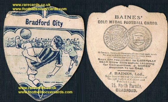 1914 Bradford City football card in blue WW1 Baines Ltd card